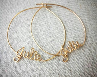 Hoop Earrings with Custom Names, Personalized Name Jewelry, Custom Name Earrings,  Large Hoops, Gold, Silver, Copper, Custom Name Gifts