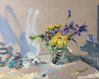 ORIGINAL OIL PAINTING By Laura Andrew Still Life with Dandelions & bluebells, Spring flowers