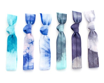 The Wonderland Tie Dye Hair Tie Package - 6 Elastic Tie Dye Hair Ties that Double as Bracelets by Mane Message on Etsy