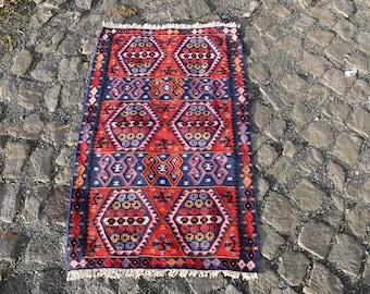 Kilim Rug 2' x 3.4', Small Kilim, Antique Kilim, Bohemian Kilim, Aztec Kilim, Unique Kilim, Turkish Vintage Kilm, Handicraft Rugs SN-885