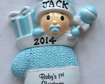 Personalized  Baby Boy's First Christmas Ornament Baby Mitten Boy- Newborn, Baby Shower Gift