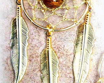 """DREAMCATCHER   Dream catcher necklace with tiger eye 2.75 inch pendant - """"All seeing Dreams"""""""