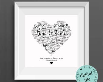 1st ANNIVERSARY GIFT - Word Art - Printable Gift - 1 Year Anniversary - 1st Wedding Anniversary - Paper Anniversary - Personalised Gifts