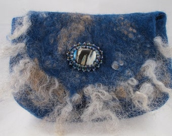 Wet felted bag felted with Merino wool, camel down and sheep locks in shades of blue, brown and grey with bead embroidered glass cab