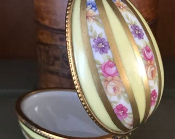 Limoges Dubarry Porcelain Egg Decorated With Roses