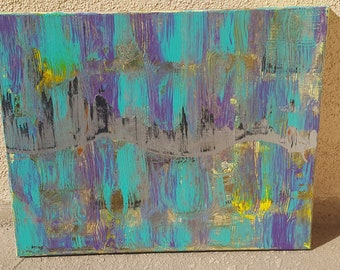 """Continuum--Abstract Acrylic Metallic Painting--Bright Colors--Stretched Canvas--16"""" x 20"""""""