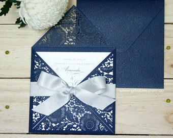 Navy Floral Laser Cut Invitation - Silver Pull Out Invitation