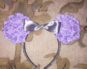 Purple floral mouse ears