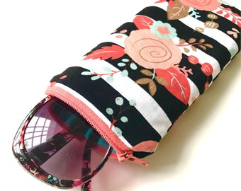 Limited quantity- Eyeglass/Sunglass Case- Striped Floral