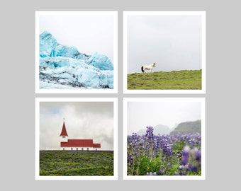 Matching set stocking stuffer - Iceland print set of 4 - One free! - Minimal photography prints - Travel wall decor - Small art gift - 5x5