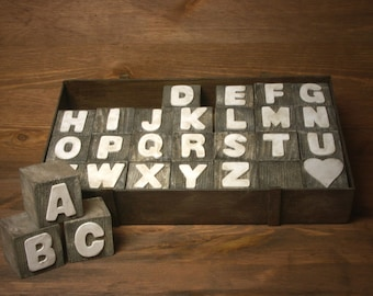 Shabby Chic Wooden Alphabet Block Set