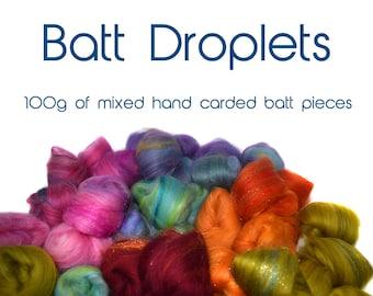 BATT DROPLETS - hand carded battlets - combo spin - 100g/3.5oz -  merino multi pack - customizable