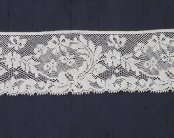 """White French Lace Edging, Heirloom Sewing Lace 2 1/4"""", Floral Lace"""