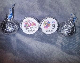 100 Personalized Shopkins Birthday Kiss/Candy/Favor/ Mini Bubbles Labels@ Peel & Stick