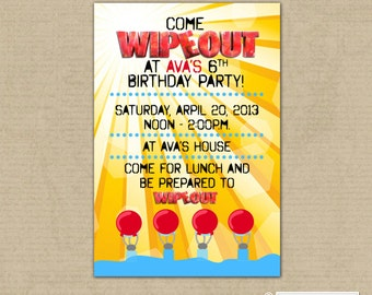 WIPEOUT Birthday Party Invitation - Water Slide party - Pool Party - Digital, Printable