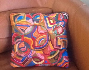 Mid Century, Modern Kitsch, hand Embroidered, Crewel Accent Pillow
