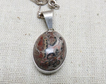 Ocean Jasper Sterling Pendant Necklace, Vintage,  20 Inch Chain