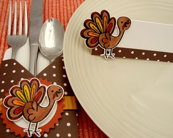Thanksgiving Place Card Set, Thanksgiving Place Cards, Thanksgiving Silverware Holder and Matching Place Cards, Silverware Sleeve, Turkeys