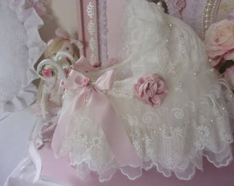 Shabby chic lace and silk decoration, little cradle