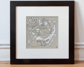 Art image 15/15 cm (5.9/5.9 inch) abstract lines/life, line Mesh