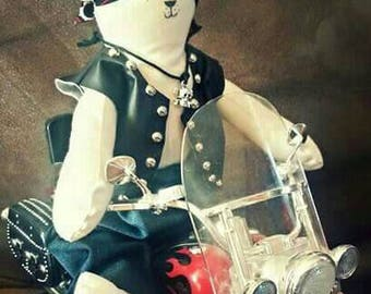 Male biker cat doll with button fashioned limbs