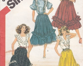 ON SALE 1980s Simplicity Pattern No 5819 for Misses Flounced Skirts  Size 12   Waist 26 1/2 inches, Uncut, Factory Folded