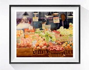 Farmers Market Fine Art Print Fruit watercolor painting Watercolor Pikes Market Seattle picture watercolour Fruit artwork Kitchen wall art