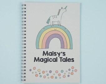 Custom Unicorn Journal | Rainbow Journal | Personalised Notebook | Custom Name Notebook | Unicorn Gift Children | Bespoke Unicorn Notebook |