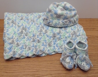 Baby Blanket, Booties and Beanie 3 piece Set
