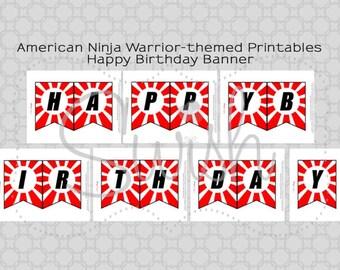 Ninja Happy Birthday Banner | Digital Download | Printable Sign | Instant Download