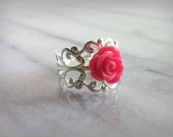 Hot Pink Filigree ring Adjustable SIlver Band