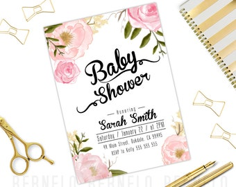 floral baby girl shower invitations,watercolor floral shower invitation,floral baby shower Invitation printable,Watercolor Flower pink gold