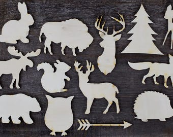 13 Woodland Animal Cutouts for Woodland Animals Baby Shower, Woodland Animals Nursery Mobile, Woodland Animal Themed Birthday Party