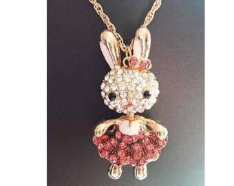 A long necklace gold Rhinestones, Bunny, rabbit head rabbit
