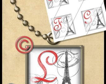 MY LOVE TO PARIS - EIFEL TOWER - Initials Alphabet Letters INCHIE Size Squares Digital Collage Sheet TILE GLASS PENDANTS 1 Inch