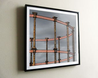 Kings Cross Gas Holder No.8 – flat print or framed options – posters also available – FREE UK postage