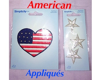 2 Packs of Simplicity Appliqués, American Flag Heart and Silver Stars Appliqués / Iron On Patches