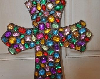 Multi-color Jeweled Decorative Wood Cross