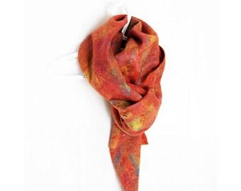 Wool Shawl Orange Felted Scarf Orange Wool Scarf Rustic Scarf Silk Orange Scarf