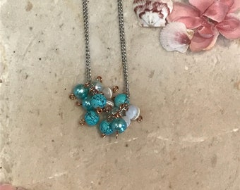 Faux Chunky Turquoise Necklace-Faux Pearl Necklace-White and Turquoise Necklace