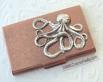 Silver Octopus Copper Business Card Case Steampunk Card Case Octopus Card Holder Gothic Victorian Card Case Metal Case Nautical Card Case
