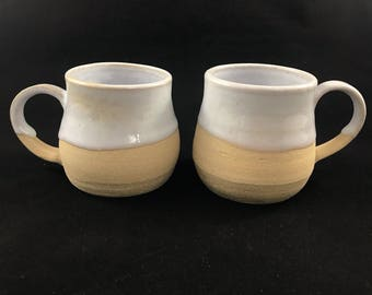 Set of 2 Light Stoneware Mugs with White Glaze