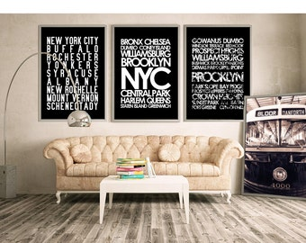 Restoration Hardware style New York City wall art - NYC subway sign art canvas or print, custom design your own