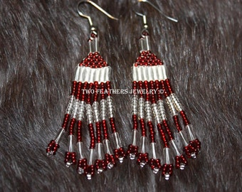 Native American Style Hand Beaded Earrings - Tribal - Red And Clear Fringe Earrings - Boho - Hippie - Two Feathers Jewelry - Made In USA