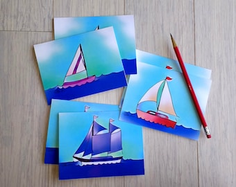 Set of 6 Sailboat Note Cards
