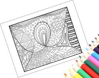 Coloring Page, Zentangle Inspired Printable- Zendoodle Page 5