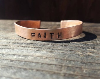 FAITH Bracelet Cuff, Personalized Copper Cuff,  Custom Word Bracelet, Scroll Rolled Ends, Rheumatoid Arthritis, Copper FAITH Bracelet