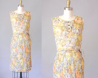 Briney cotton gauze skirt set | 1960 floral skirt and blouse set | vintage 60s skirt