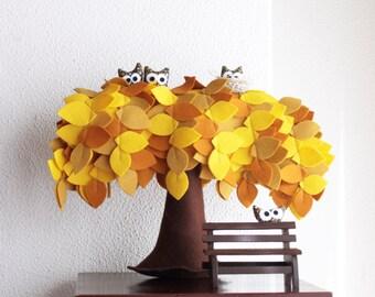 Yellow Weeping willow tree,  Felt Tree, Felt decor, Children room decor, Owl decoration, Nursery Decor, Sweet Home, Baby coming home gift