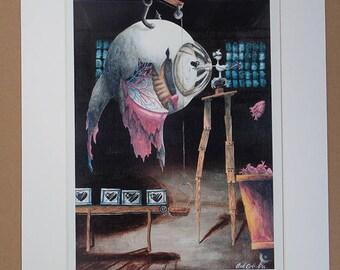 Art Print, Surrealism Painting, Mixed Media, Original Drawing, Watercolor, Acrylic Painting, Large Art Print, Eye, Heart, Drawing